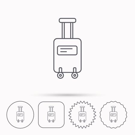 travel star: Suitcase with wheels icon. Travel baggage sign. Linear circle, square and star buttons with icons.