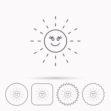hot weather: Sun rays icon. Summer sign. Hot weather symbol. Linear circle, square and star buttons with icons. Illustration