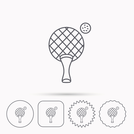 professional sport: Table tennis icon. Professional sport symbol. Linear circle, square and star buttons with icons.