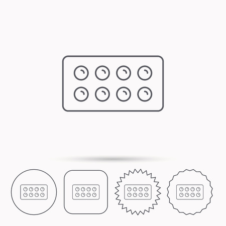 painkiller: Tablets icon. Medical pills sign. Painkiller drugs symbol. Linear circle, square and star buttons with icons.