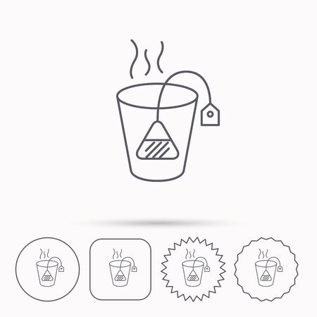 ceylon: Tea bag icon. Natural hot drink sign. Breakfast beverage symbol. Linear circle, square and star buttons with icons.