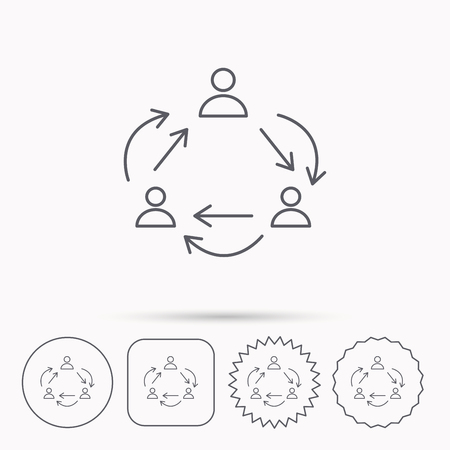 office buttons: Teamwork icon. Office working process sign. Communication employees symbol. Linear circle, square and star buttons with icons.