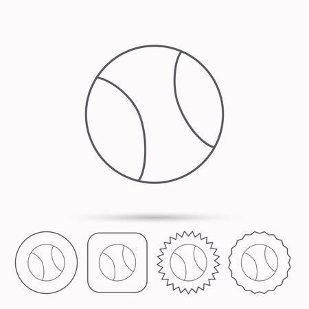 team game: Tennis equipment icon. Sport ball sign. Team game symbol. Linear circle, square and star buttons with icons. Illustration