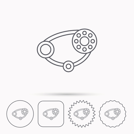 timing belt: Timing belt icon. Generator strap sign. Repair service symbol. Linear circle, square and star buttons with icons.
