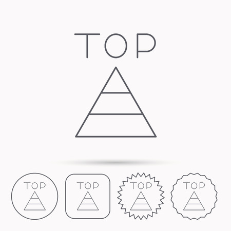 best result: Triangle icon. Top or best result sign. Success symbol. Linear circle, square and star buttons with icons. Illustration