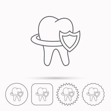 Tooth protection icon. Dental shield sign. Linear circle, square and star buttons with icons.