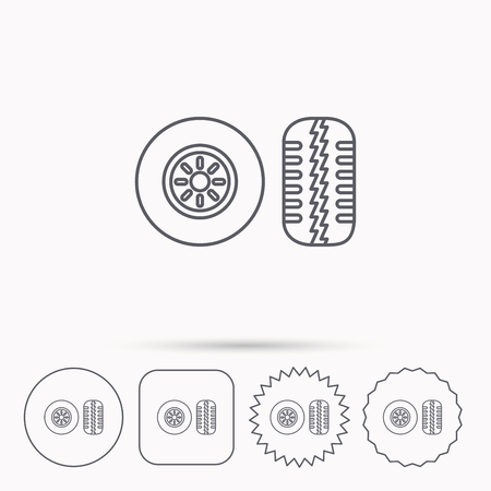 flaring: Tire tread icon. Car wheel sign. Linear circle, square and star buttons with icons.