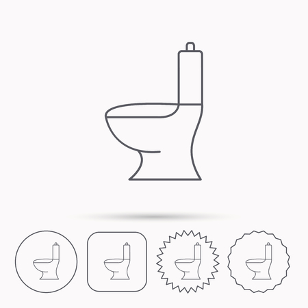 wc sign: Toilet icon. Public WC sign. Linear circle, square and star buttons with icons.