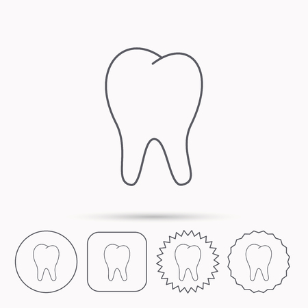 stomatology: Tooth icon. Stomatology sign. Dental care symbol. Linear circle, square and star buttons with icons.