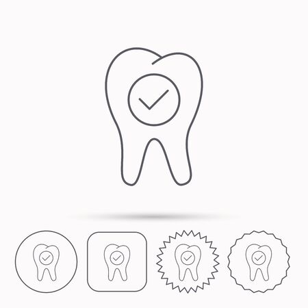 stomatology: Check tooth icon. Stomatology sign. Dental care symbol. Linear circle, square and star buttons with icons.