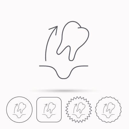 paradontosis: Tooth extraction icon. Dental paradontosis sign. Linear circle, square and star buttons with icons.