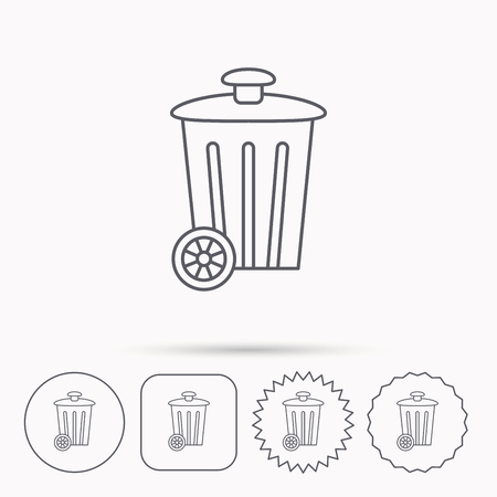 trash container: Recycle bin icon. Trash container sign. Street rubbish symbol. Linear circle, square and star buttons with icons.