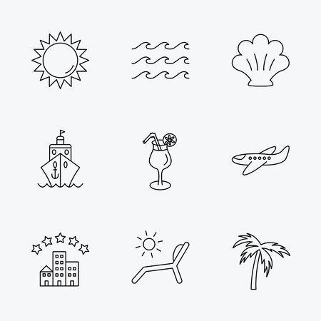 tree line: Cruise, waves and cocktail icons. Hotel, palm tree and shell linear signs. Airplane, deck chair and sun flat line icons. Linear black icons on white background.