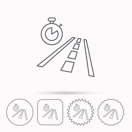 travel star: Travel time icon. Road with timer sign. Linear circle, square and star buttons with icons. Illustration