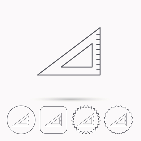 straightedge: Triangular ruler icon. Straightedge sign. Geometric symbol. Linear circle, square and star buttons with icons.