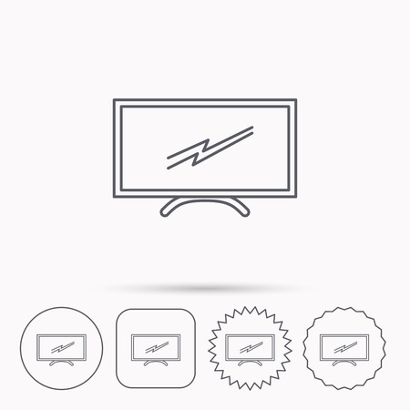 led display: Lcd tv icon. Led monitor sign. Widescreen display symbol. Linear circle, square and star buttons with icons.