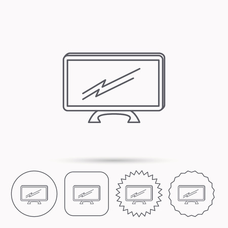 lcd display: Lcd tv icon. Led monitor sign. Widescreen display symbol. Linear circle, square and star buttons with icons.