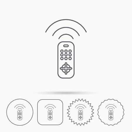 switching: Remote control icon. TV switching channels sign. Linear circle, square and star buttons with icons.
