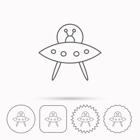 flying object: UFO icon. Unknown flying object sign. Martians symbol. Linear circle, square and star buttons with icons. Illustration