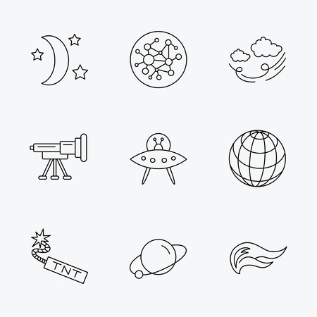 cataclysm: Ufo, planet and telescope icons. World, global network and night linear signs. TNT dynamite, fire flame and wind flat line icons. Linear black icons on white background.
