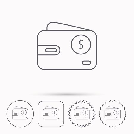 cash money: Dollar wallet icon. USD cash money bag sign. Linear circle, square and star buttons with icons. Illustration