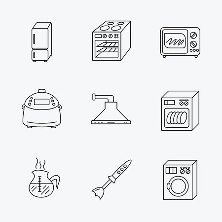 coffee blender: Microwave oven, washing machine and blender icons. Refrigerator fridge, dishwasher and multicooker linear signs. Coffee icon. Linear black icons on white background.