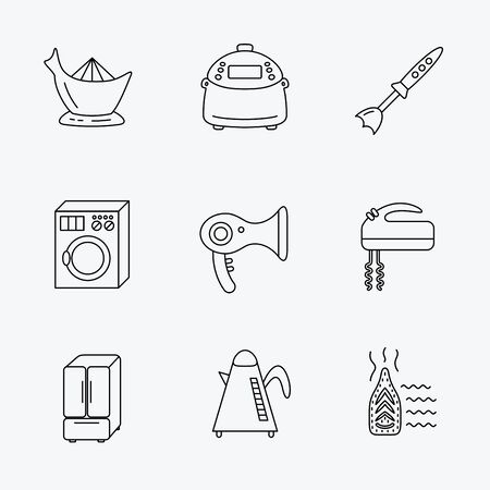 auto washing: Washing machine, teapot and blender icons. Refrigerator fridge, juicer and steam ironing linear signs. Hair dryer, juicer icons. Linear black icons on white background.
