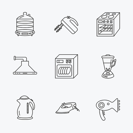 auto washing: Dishwasher, kettle and mixer icons. Oven, steamer and iron linear signs. Hair dryer, blender and kitchen hood icons. Linear black icons on white background.