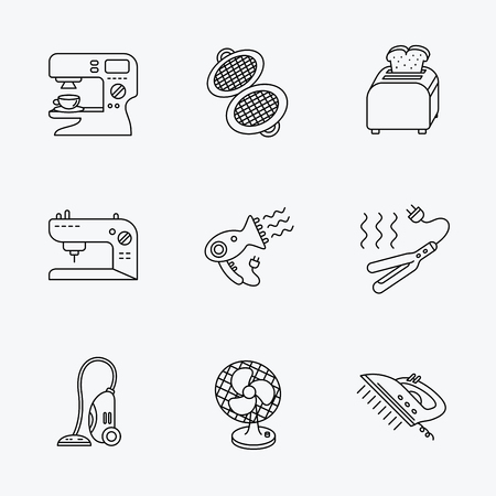 Coffee maker, sewing machine and toaster icons. Ventilator, vacuum cleaner linear signs. Hair dryer, steam ironing and waffle-iron icons. Linear black icons on white background.