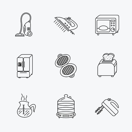 steam iron: Microwave oven, coffee and blender icons. Refrigerator fridge, steamer and toaster linear signs. Vacuum cleaner, ironing and waffle-iron icons. Linear black icons on white background.