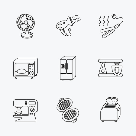 flat iron: Microwave oven, hair dryer and blender icons. Refrigerator fridge, coffee maker and toaster linear signs. Ventilator, curling iron and waffle-iron icons. Linear black icons on white background.