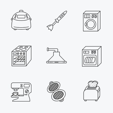 coffee blender: Dishwasher, washing machine and blender icons. Kitchen hood, coffee maker and toaster linear signs. Oven, multicooker and waffle-iron icons. Linear black icons on white background.