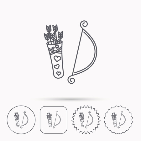 amour: Amour arrows with bow icon. Cupid love symbol. Linear circle, square and star buttons with icons. Illustration
