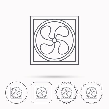 ventilation: Ventilation icon. Fan or propeller sign. Linear circle, square and star buttons with icons.