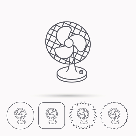 ventilator: Ventilator icon. Fan or propeller sign. Linear circle, square and star buttons with icons.