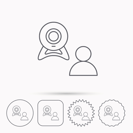 web conference: Video chat icon. Webcam chatting sign. Web conference symbol. Linear circle, square and star buttons with icons.