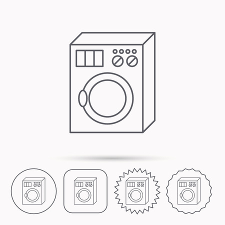 washer machine: Washing machine icon. Washer sign. Linear circle, square and star buttons with icons. Illustration