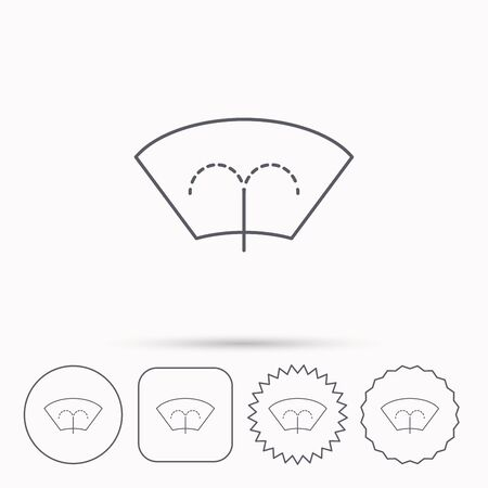 windshield: Washing window icon. Windshield cleaning sign. Linear circle, square and star buttons with icons. Illustration
