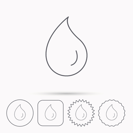 washing symbol: Water drop icon. Liquid sign. Freshness, condensation or washing symbol. Linear circle, square and star buttons with icons. Illustration