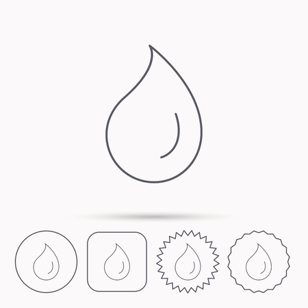 condensation: Water drop icon. Liquid sign. Freshness, condensation or washing symbol. Linear circle, square and star buttons with icons. Illustration