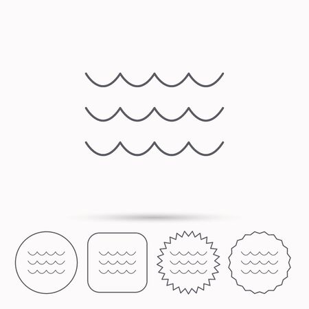 oceanic: Waves icon. Sea flowing sign. Water symbol. Linear circle, square and star buttons with icons.
