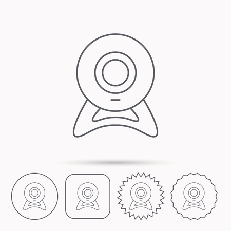 web cam: Web cam icon. Video camera sign. Online communication symbol. Linear circle, square and star buttons with icons.