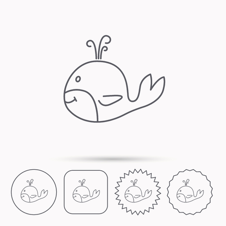 cetacea: Whale icon. Largest mammal animal sign. Baleen whale with fountain symbol. Linear circle, square and star buttons with icons. Illustration