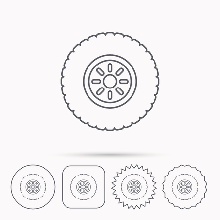 flaring: Car wheel icon. Tire service sign. Linear circle, square and star buttons with icons.