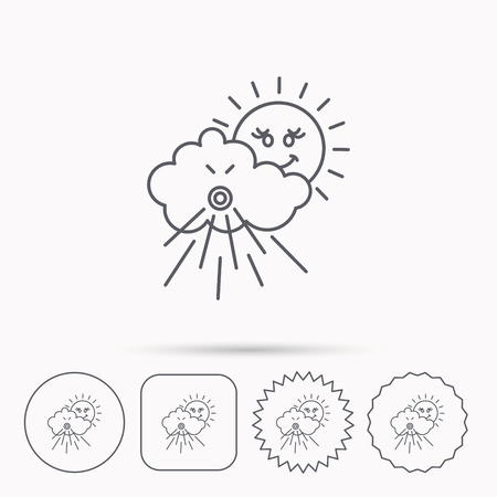 the tempest: Wind icon. Cloud with sun and storm sign. Strong wind or tempest symbol. Linear circle, square and star buttons with icons. Illustration