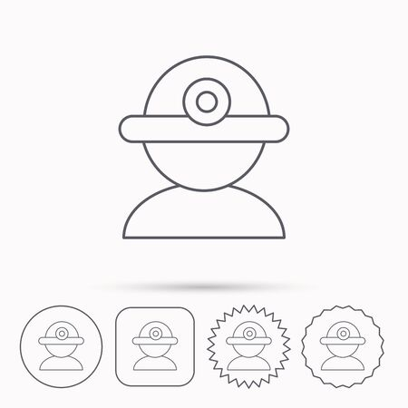 industrialist: Worker icon. Engineering helmet sign. Linear circle, square and star buttons with icons. Illustration