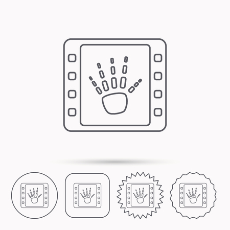 Hand X-ray icon. Human skeleton sign. Linear circle, square and star buttons with icons.