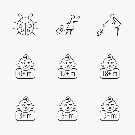 6 9 months: Infant child, ladybug and toddler baby icons. 0-18 months child linear signs. Unattended, parents supervision icons. Linear black icons on white background.