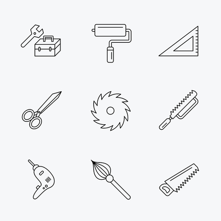 rule: Scissors, paint roller and repair tools icons. Fretsaw, circular saw and brush linear signs. Triangular rule, drill icons. Linear black icons on white background. Illustration