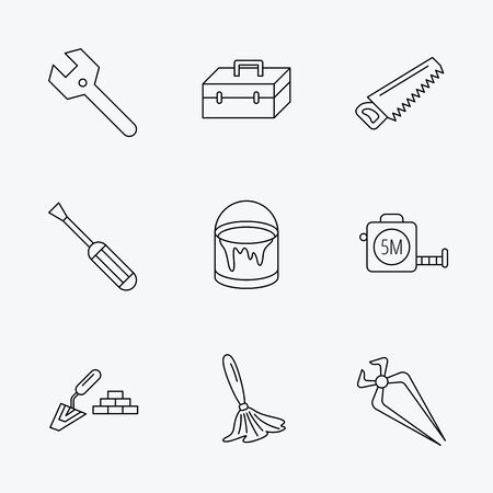 nippers: Wrench key, screwdriver and paint brush icons. Toolbox, nippers and saw linear signs. Finishing spatula icon. Linear black icons on white background.
